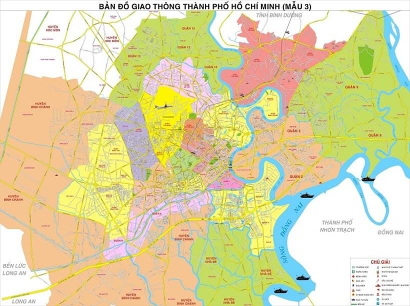 Bản đồ Sài Gòn TP HCM: Bản đồ các quận huyện ở Hồ Chí Minh mới nhất
