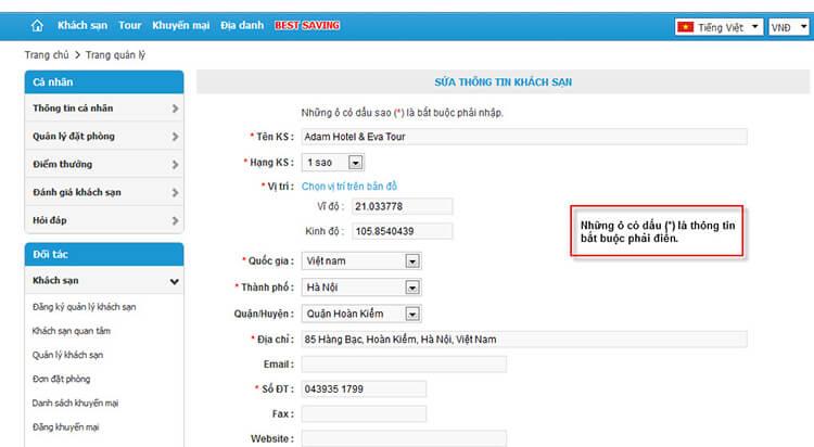 Hướng dẫn đăng ký bán phòng khách sạn trên website Mytour